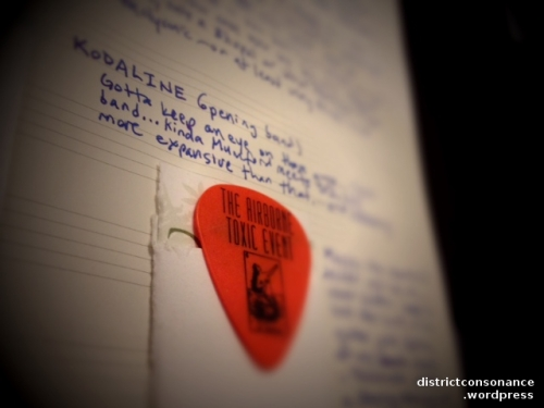 "My note about Kodaline from May 2013 (scrawled above the Airborne guitar pick that landed at my feet): ""Gotta keep an eye on them!"""