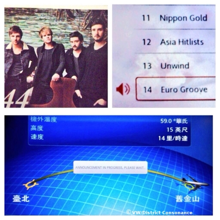 Kodaline featured in the in-flight entertainment magazine (traveling from Taipei to San Francisco)