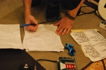 Preparing the set list.